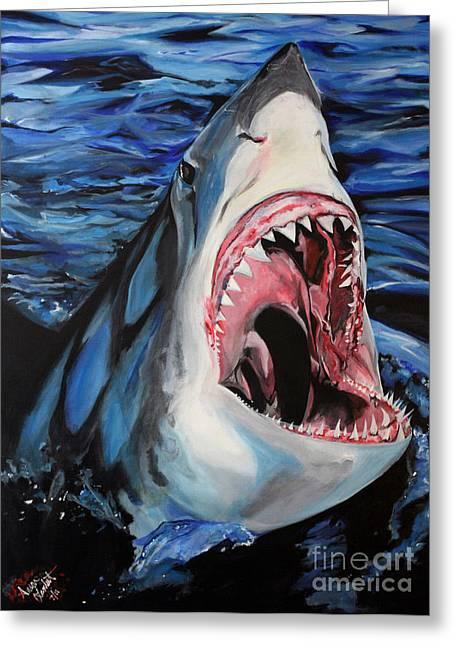 Sharks Get Smart Greeting Card by Lambert Aaron