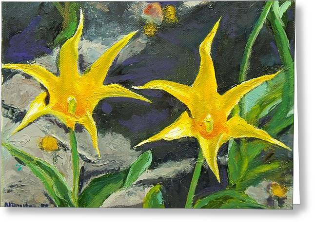 Sharp Yellow Pointers Greeting Card