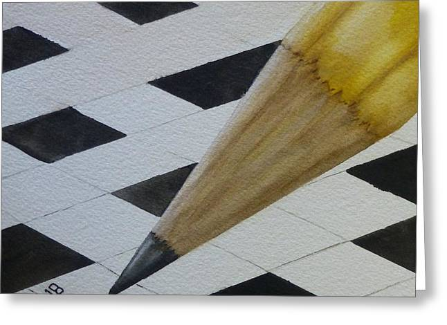Greeting Card featuring the painting Sharpen Your Pencil For This Puzzle by Kelly Mills