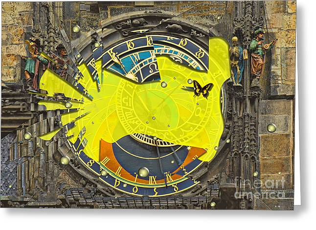 Shattered - Prague Astronomical Clock  Greeting Card