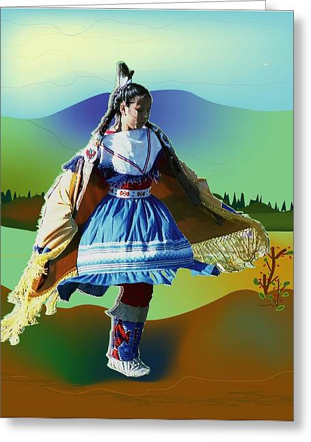 Shawl Dancer 1 Greeting Card by Kae Cheatham