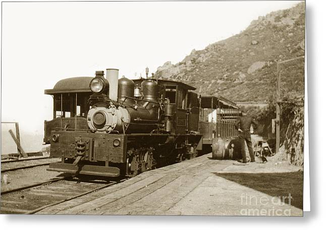 Greeting Card featuring the photograph Shay No. 498 At The Summit Of Mt. Tamalpais Marin Co California Circa 1902 by California Views Mr Pat Hathaway Archives