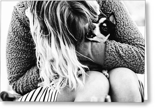 She And Her Dog Greeting Card by Alyaksandr Stzhalkouski