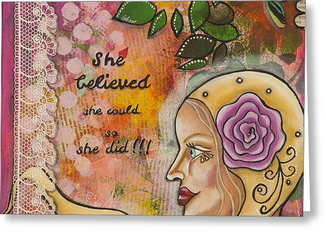 She Believed She Could So She Did Inspirational Mixed Media Folk Art Greeting Card