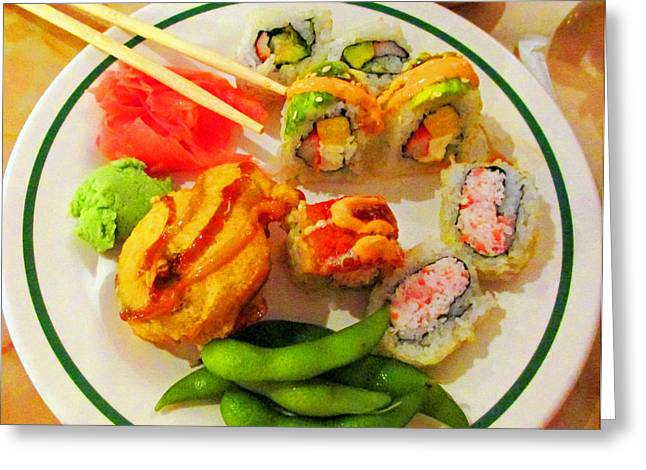 She Craves Sushi Greeting Card by Randall Weidner