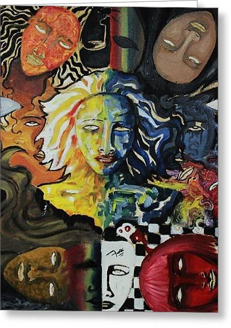 She Faces Greeting Card by Furqi Faiq