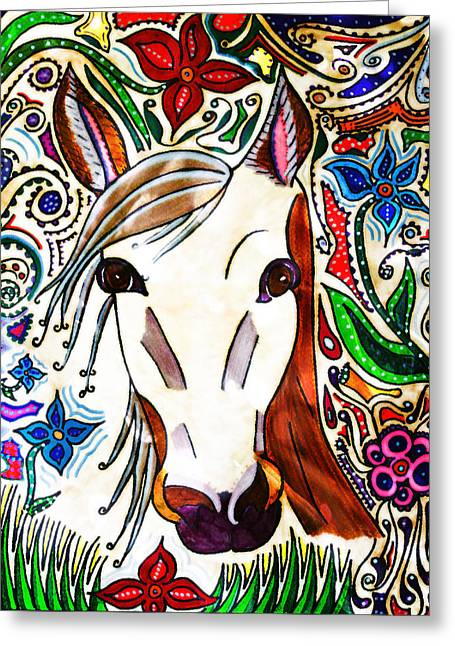 She Grazes Where Flowers Grow - Horse Greeting Card