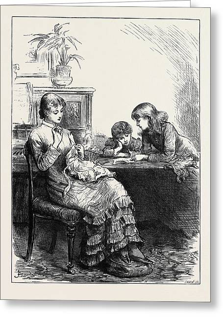 She Had Made Her Sisters Pinafores When They Were Younger Greeting Card by English School