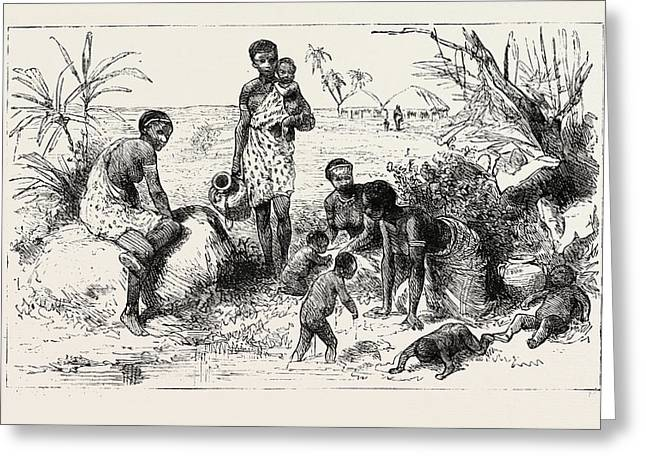 She Lived By An Abyssinian River, Engraving 1884, Slave Greeting Card