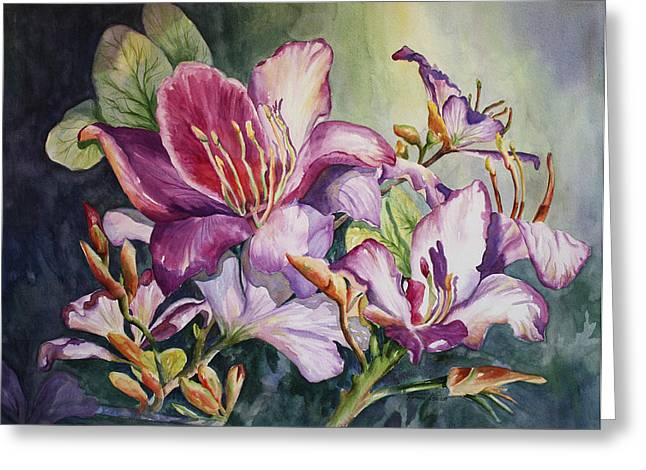 She Love Radiant Orchids Greeting Card