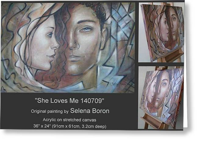 Greeting Card featuring the painting She Loves Me 140709 by Selena Boron