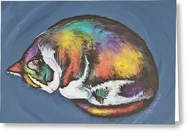 She Purrs In Color Greeting Card by Beth Clark-McDonal