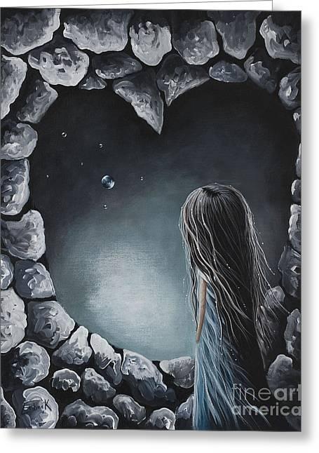 She Talks To Rainbows And Fireflies By Shawna Erback Greeting Card by Shawna Erback