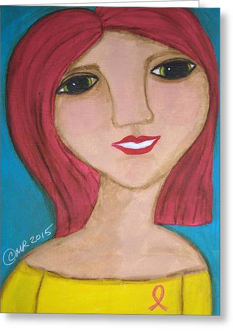 She Wears A Pink Ribbon  Greeting Card by Micki Rongve