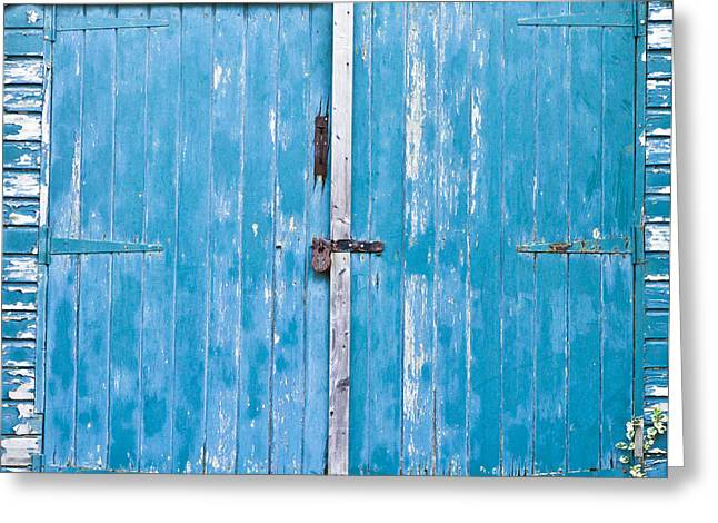 Shed Door Greeting Card by Tom Gowanlock