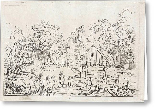 Shed Near The Water, Print Maker Anonymous Greeting Card