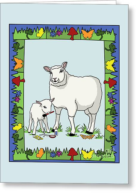 Sheep Artist Sheep Art II Greeting Card by Audra D Lemke