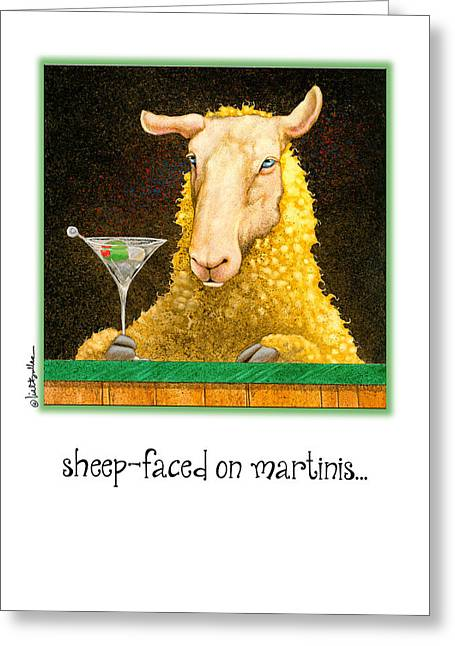 Sheep-faced On Martinis... Greeting Card