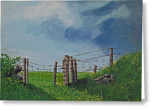 Sheep Field Greeting Card by Barbara McDevitt
