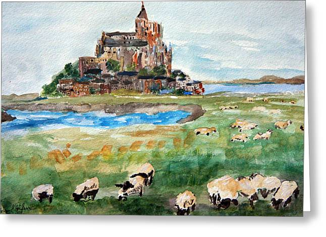 Sheep Grazing At Mont Saint Michel Greeting Card