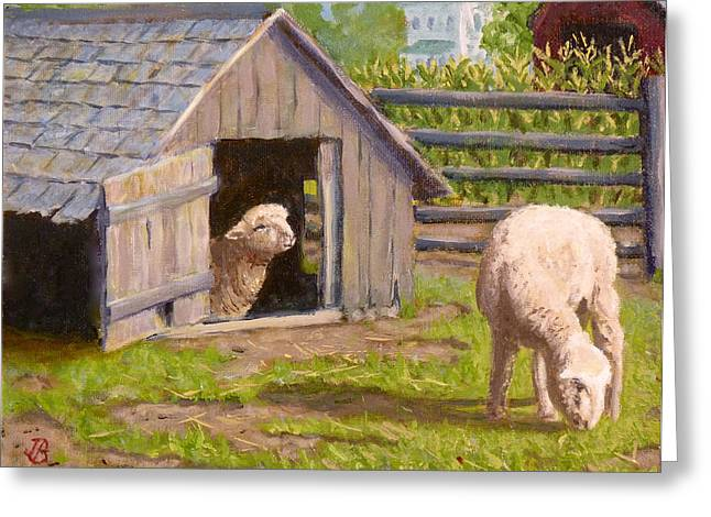 Greeting Card featuring the painting Sheep House by Joe Bergholm