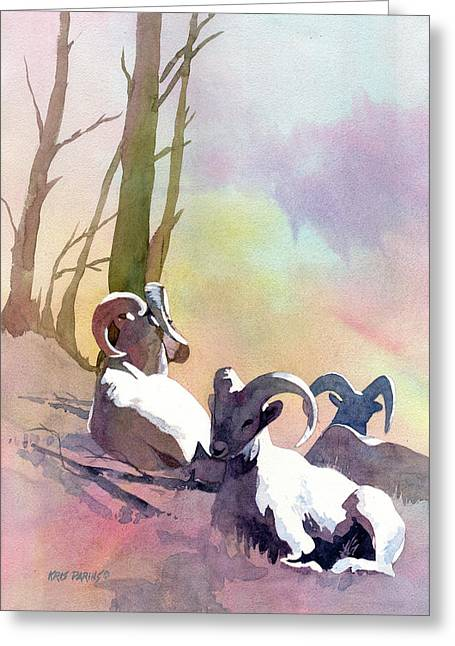Sheep Shape Greeting Card by Kris Parins