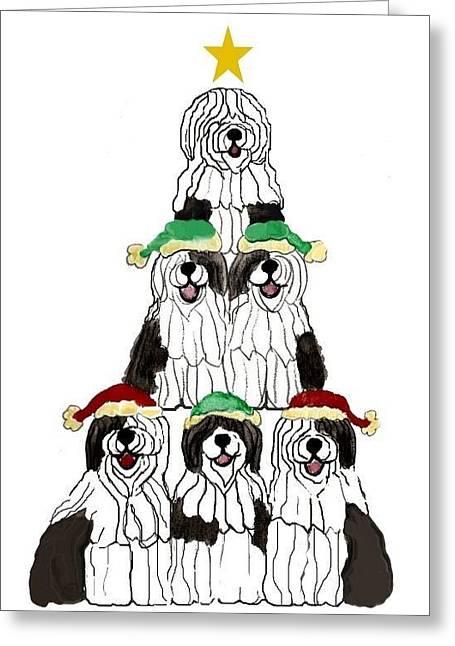 Sheepdog Christmas Tree Greeting Card