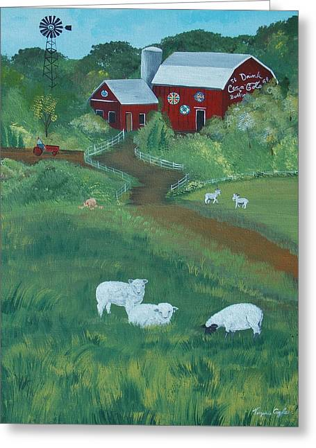 Sheeps In The Meadow Greeting Card by Virginia Coyle