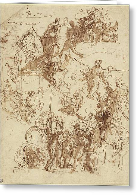 Sheet Of Studies For The Martyrdom Of Saint George Recto Greeting Card