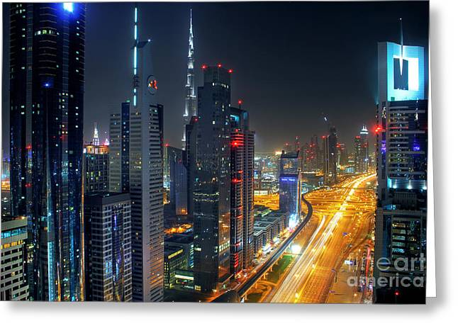 Sheikh Zayed Road In Dubai Greeting Card