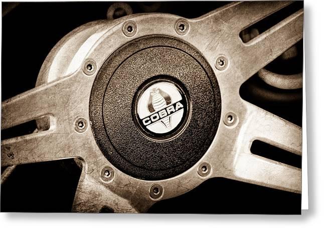 Shelby Cobra Steering Wheel Emblem Greeting Card by Jill Reger