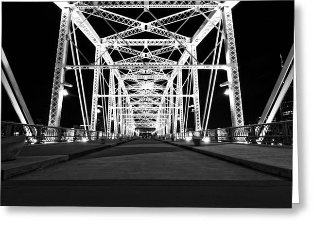 Shelby Street Bridge At Night In Nashville Greeting Card by Dan Sproul