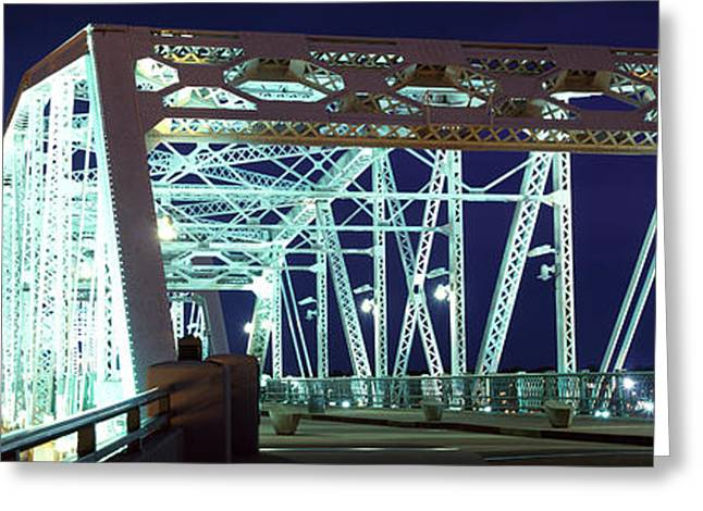 Shelby Street Bridge At Night Greeting Card by Panoramic Images