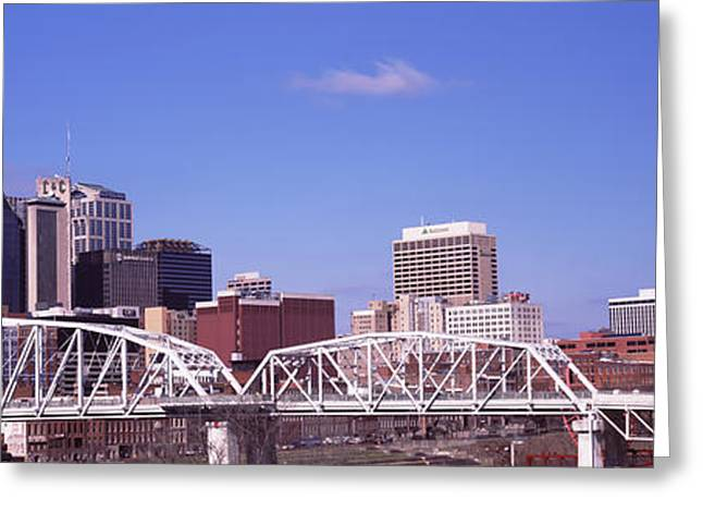 Shelby Street Bridge With Downtown Greeting Card by Panoramic Images