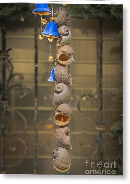 Shell And Bell Wind Chime - Hdr Style Greeting Card by Ian Monk