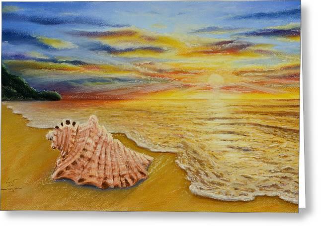 Shell At Sunset Greeting Card