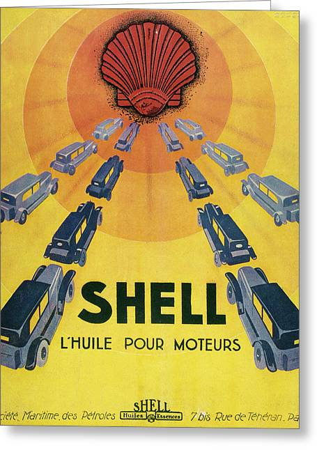 Shell Oil For Cars         Date 1929 Greeting Card by Mary Evans Picture Library