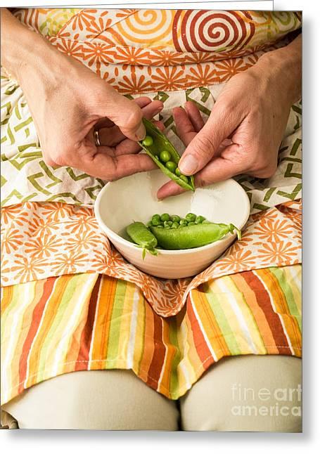 Shelling Peas Greeting Card by Edward Fielding
