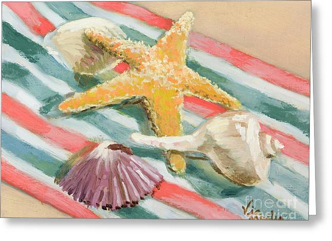 Greeting Card featuring the painting Shells Abound by Vic  Mastis
