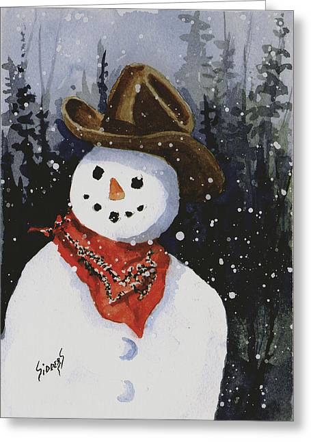 Shelly's Snowman Greeting Card by Sam Sidders