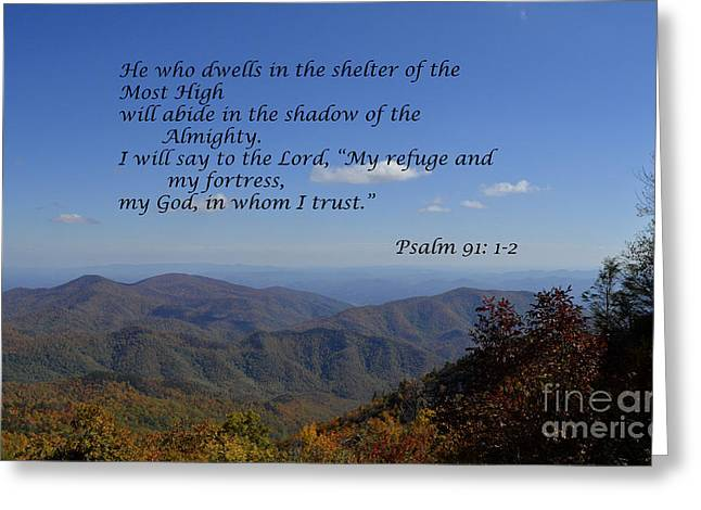 Shelter Of The Most High Greeting Card by Debra Johnson