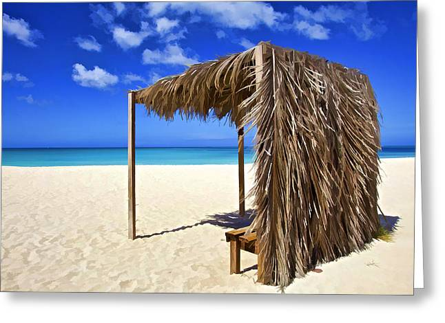 Shelter On A White Sandy Caribbean Beach With A Blue Sky And White Clouds Greeting Card