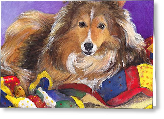 Sheltie On Quilt Greeting Card