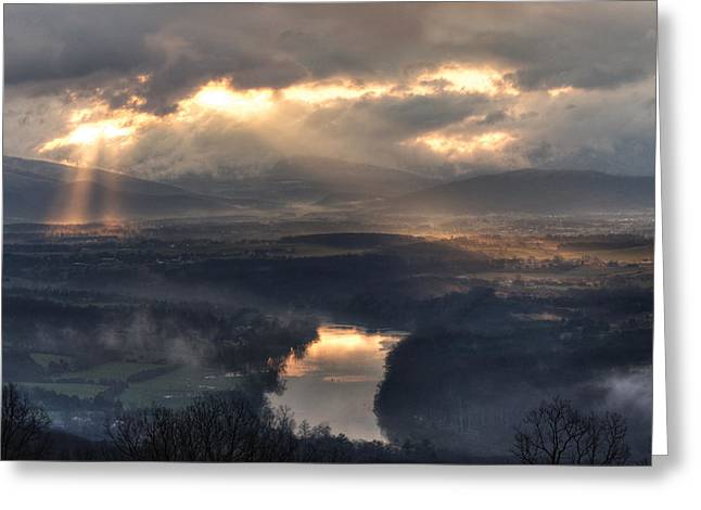 Shenandoah Light Greeting Card by Lara Ellis
