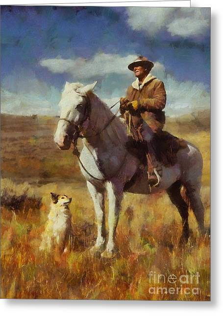 Greeting Card featuring the painting Shepherd And His Dog by Kai Saarto