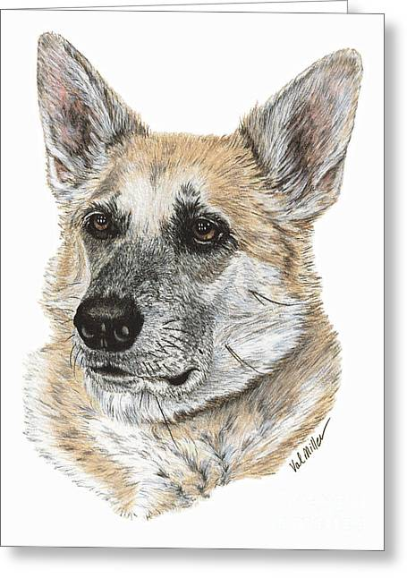 Greeting Card featuring the drawing Shepherd Beauty by Val Miller