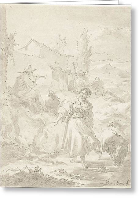 Shepherd Sits On A Rock And Plays Pipe, A Shepherdess Greeting Card