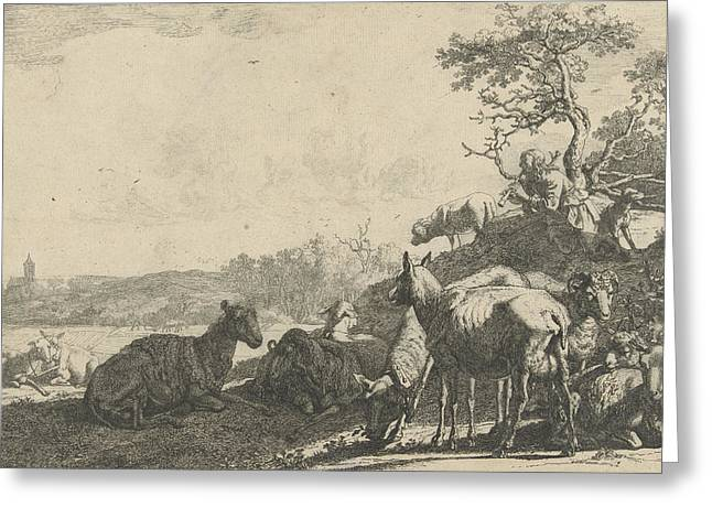 Shepherd With Dog On A Hill, Playing On A Flute Greeting Card
