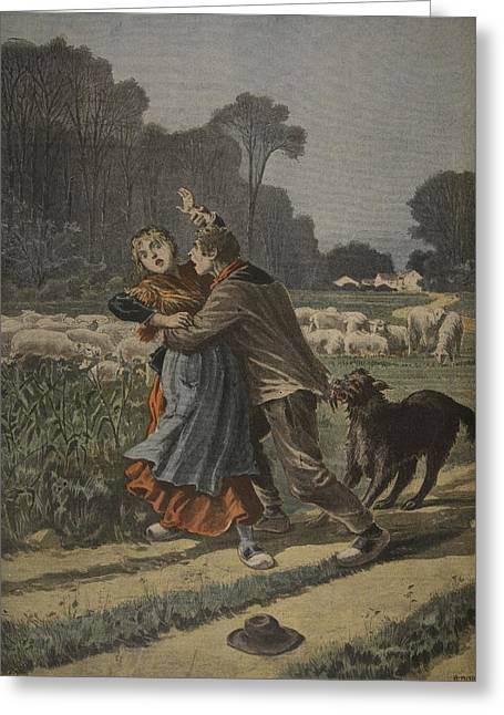Shepherdess Defended By Her Dog Greeting Card by Henri Meyer