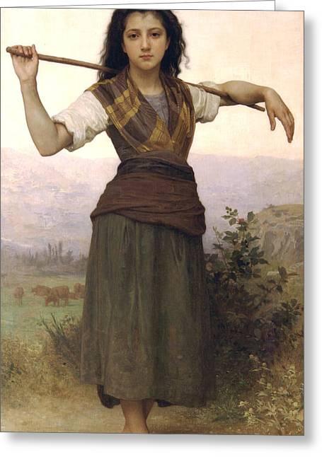 Shepherdess Greeting Card by William Bouguereau